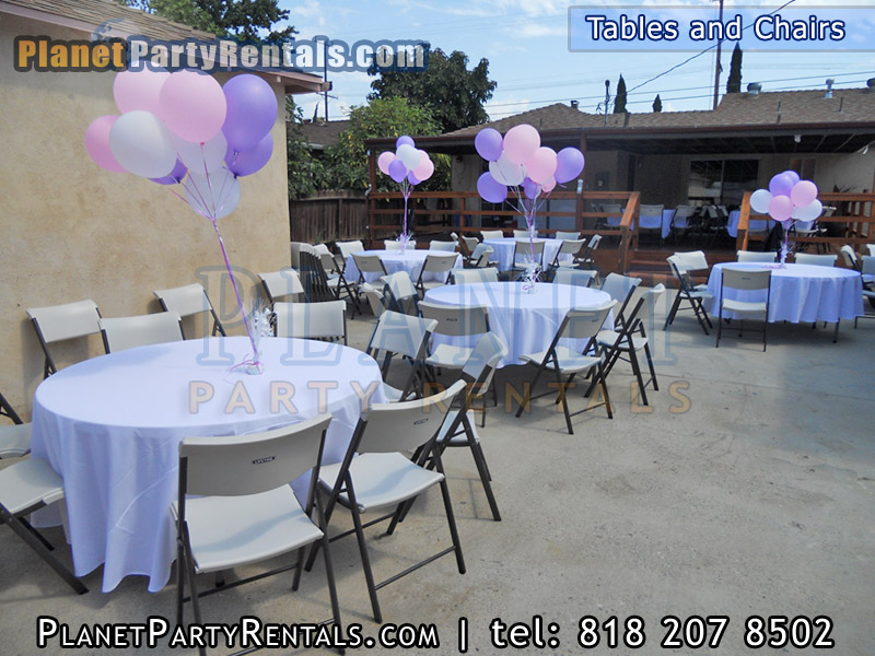 Tables chairs rectangular round tables party rentals for Chair table rentals