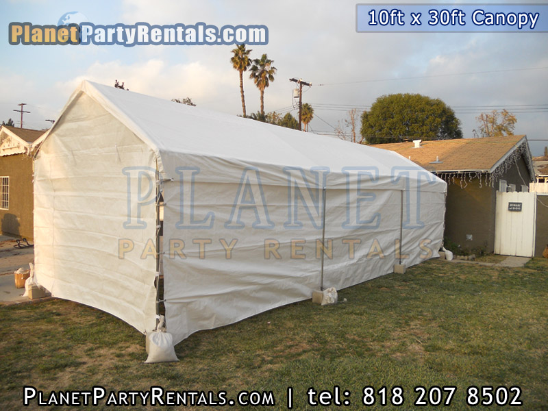 10ft x 30ft white canopy with sidewalls | You can fully close the canopy, entrance for tent available | Sidewalls are included with the rental of the canopy/tent, rent the canopy with tables chairs you can also, we also carry chafing dishes table cloths runners and bathrooms