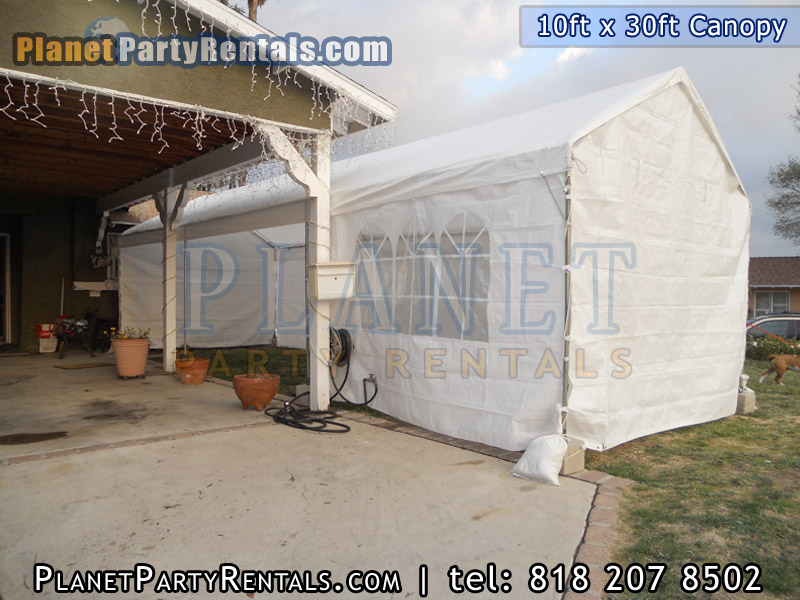 10ft x 30 ft Canopy with tables and chair party rental equipment in the valley van nuys burbank studio city west hills granada hills northridge woodland hills burbank encino sherman oaks arleta free delivery | Patio Heaters Chafing Dishes Table Cloths Bathrooms Tents & Canopy