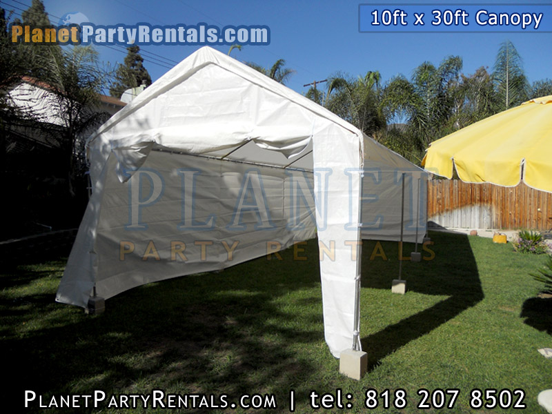 10ft x 30ft canopy party tent with sidewalls | sidewalls can be customized, sidewalls are removable | canopy/tent can be rented with tables and chairs, patio heaters 7 feet and under fit inside our tents | San Fernando Valley