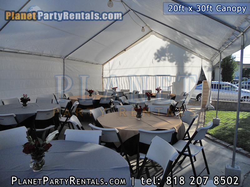 20ft x 30 ft Canopy with tables and chair party rental equipment in the valley van nuys mission hills north hills north hollywood woodland hills burbank encino sherman oaks arleta| Patio Heaters Chafing Dishes Table Cloths Bathrooms Tents & Canopy