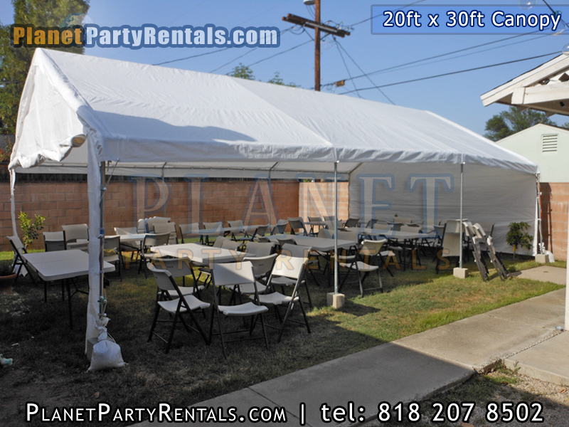 Canopy Rentals in the San Fernando Valley we carry 10feet x 20 feet, 10feet x 30feet, 20feet x 30feet, 12ft x 20ft | Canopy Party Tents for rent available in the San Fernando Valley Calabasas West Los Angeles and Santa Clarita