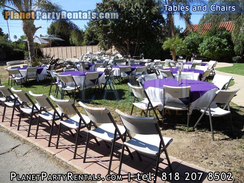 "White Round 60"" Tables 6ft by 3ft White Rectangular tables White Plastic Chairs 