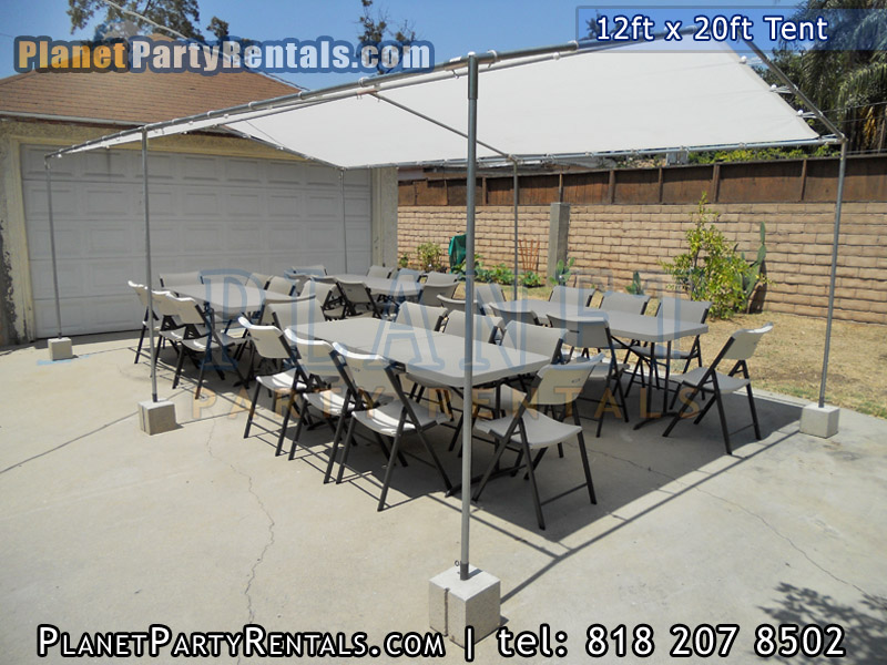 12ft x 20ft Tent with rectangular tables and chairs | The 12ft x20ft tent does not include walls | Rent the 12ft by 20ft tent with tables and chairs packages with tables and chairs available for rent