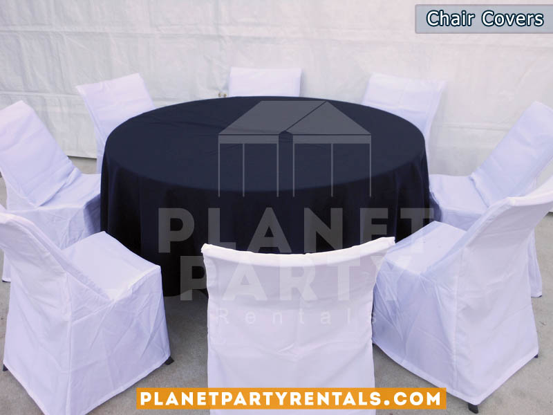 white chair covers with round black table cloths | table and chair rentals van nuys panorama city reseda northridge north hollywood san fernando valley