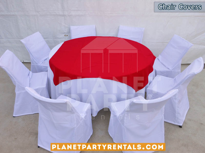 white chair covers with white round table cloth and red overlay/diamond | table and chair rentals van nuys panorama city reseda northridge north hollywood san fernando valley