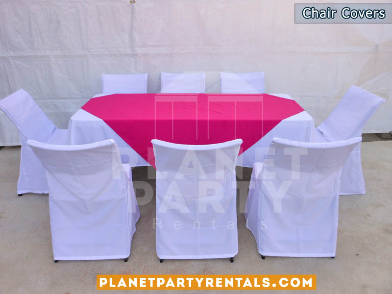white chair covers with white rectangular table cloths and fuchsia overlay/diamond | table and chair rentals san fernando valley