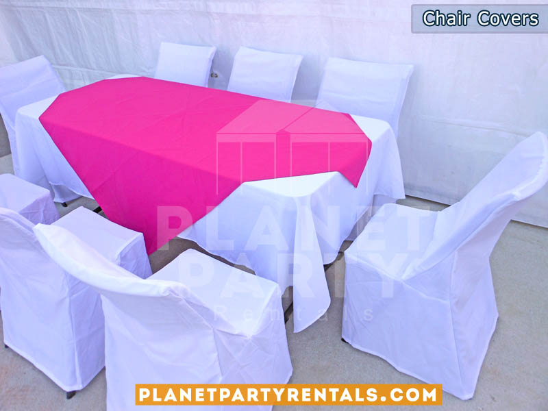 Charmant White Chair Covers With White Rectangular Table Cloths And Fuchsia  Overlay/diamond | Table And