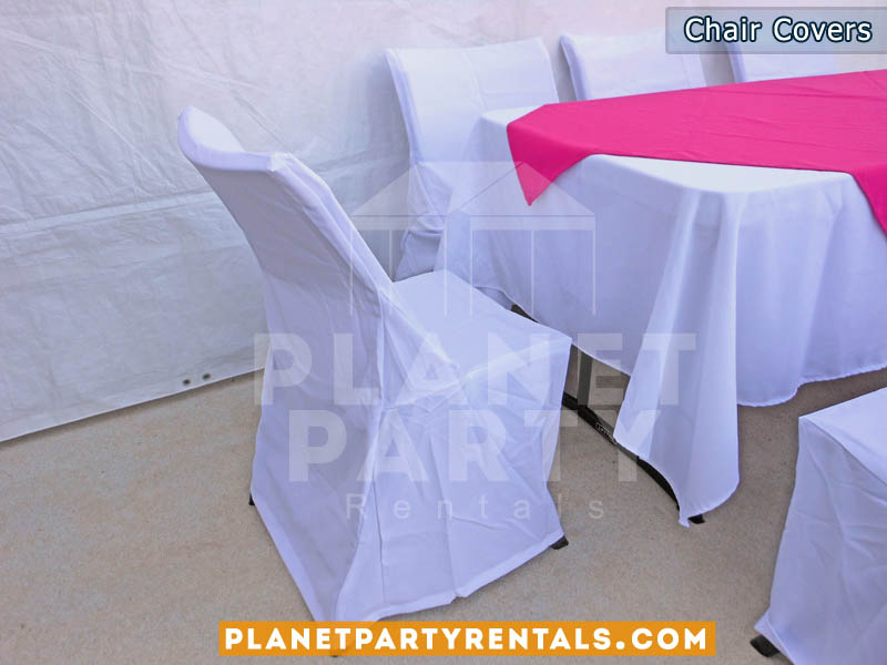 Discount Table Linen Rentals Part - 21: White Chair Covers With White Rectangular Table Cloths And Fuchsia  Overlay/diamond | Table And