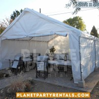 20ft x 20ft white party tent with sidewalls tables and chairs