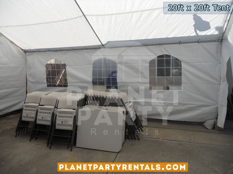 20ft x 20ft white party tent with sidewalls | Tent Packages includes tables and chairs