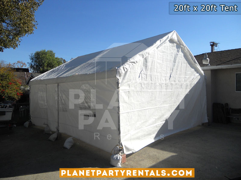 20ft x 20ft white party tent with sidewalls