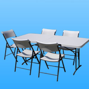 high quality tables and chairs for rent, rectangular tables and chairs, linen table cloths available for rent, rentals available in the valley, free delivery